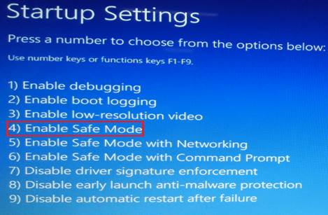 Enable Saft Mode under Startup Settings